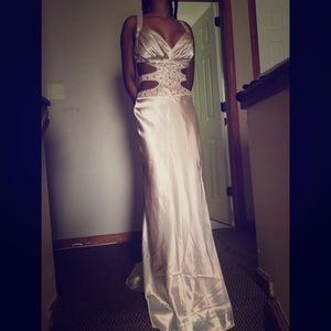 Champagne colored prom dress